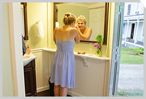 Lighted mirrors offer convenience to guests